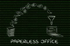 Paperless office: scanning documents and turning paper into data Stock Illustration