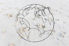 luggage moving across travel destinations around the world - stock illustration