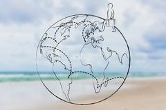 Globetrotter life: man with luggage and travel destinations across the globe Stock Illustration