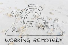 working remotely: man connected with his laptop from a desert island - stock illustration