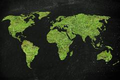 Map of the world made of green grass, concept of ecology and green economy Stock Illustration