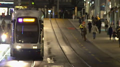 Evening rush hour in big city, commuters travel by public transport after work - stock footage