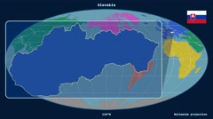 Slovakia - 3D tube zoom (Mollweide projection). Continents - stock footage