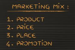 marketing mix: product, price, place, promotion - stock illustration