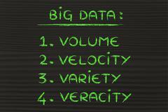 big data: volume, velocity, variety, veracity - stock illustration