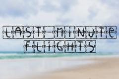 Schedule board with words Last Minute Flights on beach background Stock Illustration