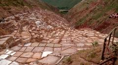 MARAS, PERU: Salt evaporation pond (Cusco in andean landscape) Stock Footage