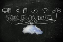 File upload and download to a cloud Stock Illustration