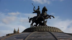 George Victorious. Sculpture at the Manege Square in Moscow. 4K. Stock Footage