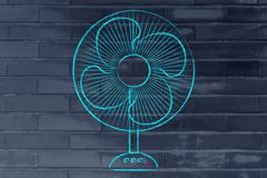 Funny electric fan illustration, keep cool and stay fresh in the heat wave Stock Illustration