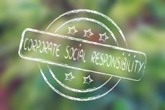 stamp with 5 stars evaluation about corporate social responsibility - stock illustration