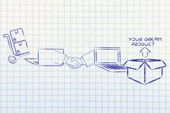 laptops, handshake and parcel: concept of selling and buying online - stock illustration