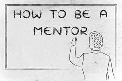 teacher writing on blakboard: how to be a mentor - stock illustration