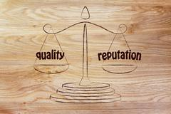 Finding a good balance in business: quality & good reputation Stock Illustration
