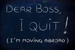 Dear boss, I quit (I'm moving abroad) Stock Illustration