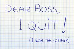 Dear boss, I quit (I won the lottery) Stock Illustration