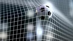 Soccer ball slow motion to the goal. Football  3d rendering Stock Illustration