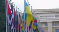 National flags of UN member countries flapping in front of Palace of Nations HD Footage