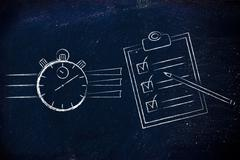 Stopwatch and to do list complete Stock Illustration
