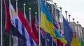 National flags of summit participants, strategic partners, diplomatic relations HD Footage