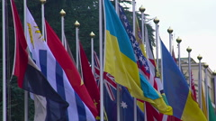 National flags of summit participants, strategic partners, diplomatic relations Stock Footage