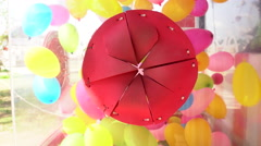 4k, Close up balloon be blown away in box Stock Footage