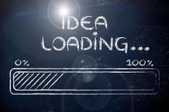 Funny progress bar with idea loading Stock Illustration