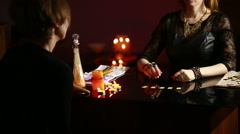 Fortuneteller. divination by the runes. Stock Footage