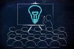 seminar or school class with man drawing a brilliant idea on a blackboard - stock illustration