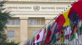 Flags in front of United Nations Organization main office in Geneva, Switzerland HD Footage