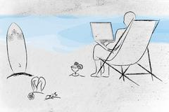 working remotely, man typing on his laptop from the beach - stock illustration