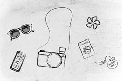 Capturing your adventures and sharing your world: sunglasses, camera, passpor Stock Illustration