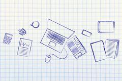 business office objects desk illustration, organization and productivity - stock illustration