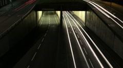 Wide shot of traffic speeding through Queensway tunnels in Birmingham. Stock Footage