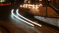 Medium shot of traffic speeding through Queensway tunnels in Birmingham. Stock Footage