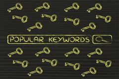 Search bar with funny keys, researching about the best keywords trends Stock Illustration