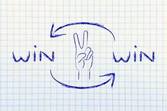 Exchanging Win Win solutions, hand making Victory sign Stock Illustration