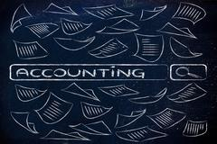 search engine bar surrounded by messy documents, reading about accounting - stock illustration