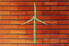 alternative energy: illustration of wind turbine made of leaves - stock illustration