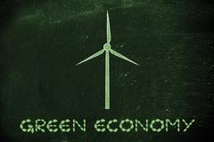 Alternative energy: illustration of wind turbine made of leaves Stock Illustration
