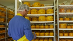 Handsome cheesemaker is checking cheeses in his workshop storage in 4k UHD video Stock Footage