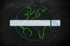World map with internet search bar Stock Illustration