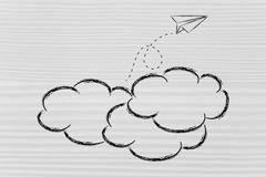 paper airplane flying over clouds: concept of effort, success and achievement - stock illustration