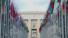 Main office of United Nations Organization in Geneva, international cooperation - stock footage
