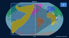 Somalia - 3D tube zoom (Kavrayskiy VII projection). Continents Stock Footage