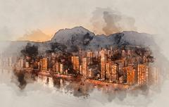 Digital watercolor painting of a Benidorm city at sunset. Spain. Piirros