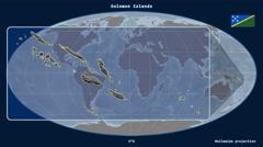 Solomon Islands - 3D tube zoom (Mollweide projection) Stock Footage