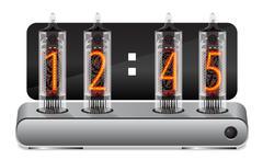 Clock with vintage vacuum tube display - stock illustration