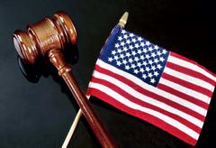 Gavel and American Justice. Stock Photos