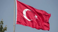 Turkish flag in the wind. Stock Footage